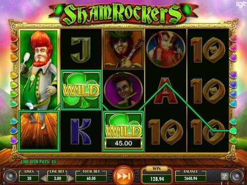 Shamrockers Eire To Rock Big Bonus Slots Stacked major symbol on reel 1 triggers multiple winning paylines.