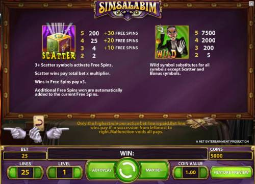 Simsalabim Big Bonus Slots scatter and wild symbol rules and payouts