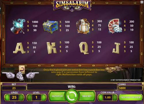 Simsalabim Big Bonus Slots slot game symbols paytable