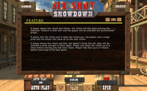 Six Shot Showdown review on Big Bonus Slots