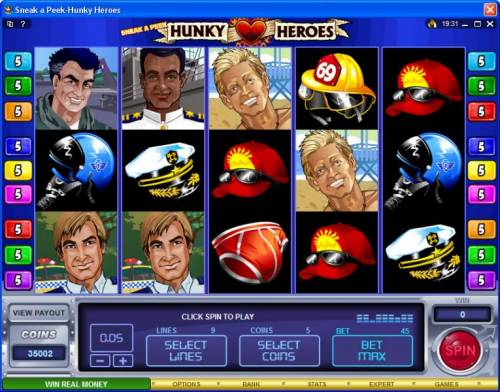 Sneak a Peek-Hunky Heroes review on Big Bonus Slots