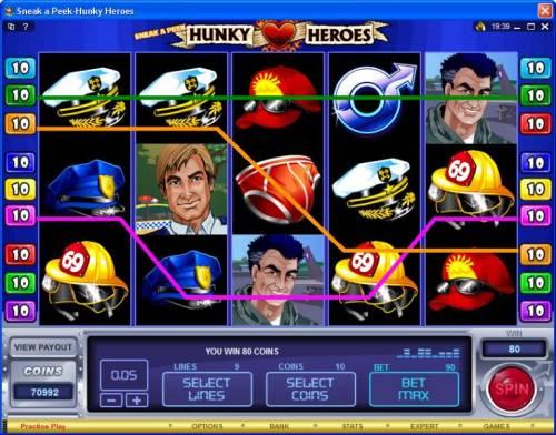 Sneak a Peek-Hunky Heroes review on Big Bonus Slots