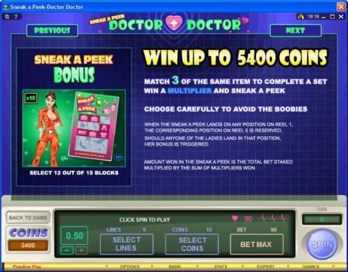Sneek a Peek-Doctor Doctor review on Big Bonus Slots