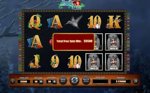 Snow Wild Big Bonus Slots Total free games payout 6500 coins