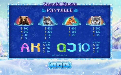 Snowfall Queen Big Bonus Slots Paytable