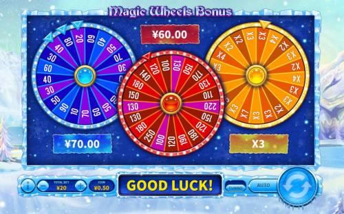 Snowfall Queen Big Bonus Slots Bonus wheels spin and award cash prizes and multiplier