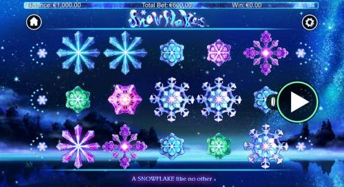 Snowflakes Big Bonus Slots A winter wonderland themed main game board featuring five reels and 25 paylines with a $10,000 max payout
