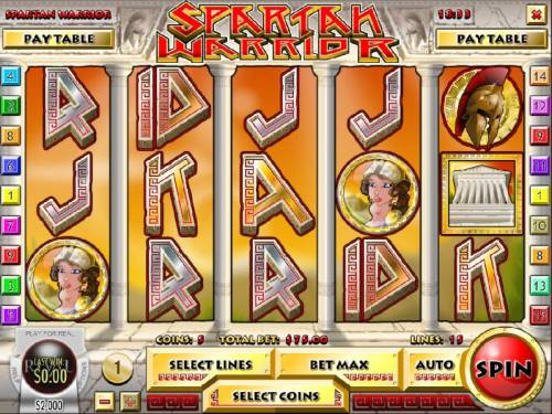 Spartan Warrior Big Bonus Slots Main game board featuring five reels and 15 paylines with a $25,000 max payout