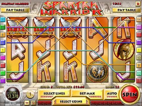 Spartan Warrior Big Bonus Slots Multiple winning paylines, five of a kind and a $1,370 big win!