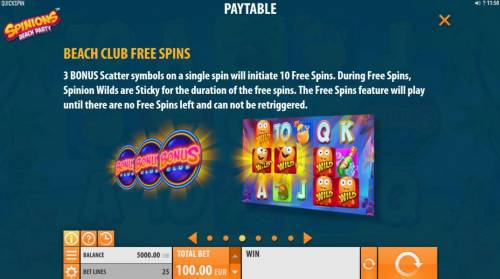 Spinions Beach Party review on Big Bonus Slots