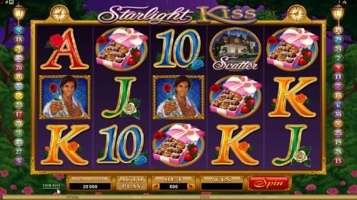 Starlight Kiss Big Bonus Slots main game board featuring 5 reels and 30 paylines