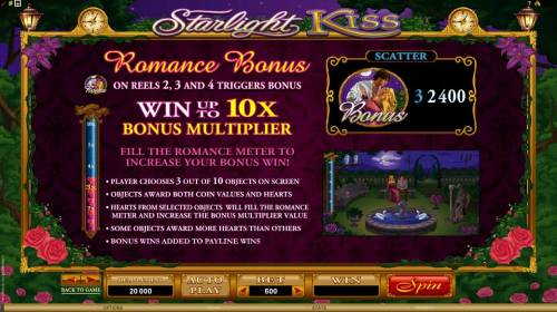 Starlight Kiss Big Bonus Slots romance bonus symbol on reels 2, 3 and 4 triggers bonus with a chance to win u to 10x bonus multiplier