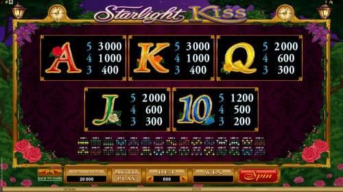 Starlight Kiss Big Bonus Slots slot game has 20 payline configurations