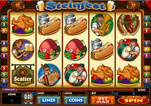 Steinfest Big Bonus Slots Main game board featuring five reels and 9 paylines with a $5,000 max payout
