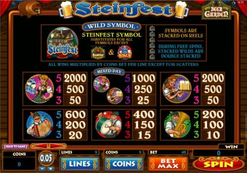 Steinfest Big Bonus Slots Slot game symbols paytable