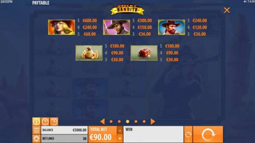 Sticky Bandits Big Bonus Slots High value slot game symbols paytable