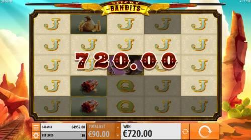Sticky Bandits Big Bonus Slots Jack symbols triggers a 720 win