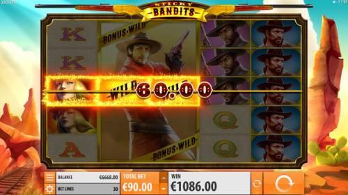 Sticky Bandits Big Bonus Slots Massive wild symbol triggers multiple winning paylines