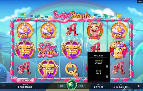 Sugar Parade Big Bonus Slots Click on the BET button to adjust the coin size and coins per line played.