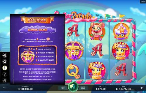 Sugar Parade Big Bonus Slots Bonus Game Rules