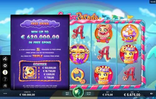 Sugar Parade Big Bonus Slots Scatter and Free Spins Rules