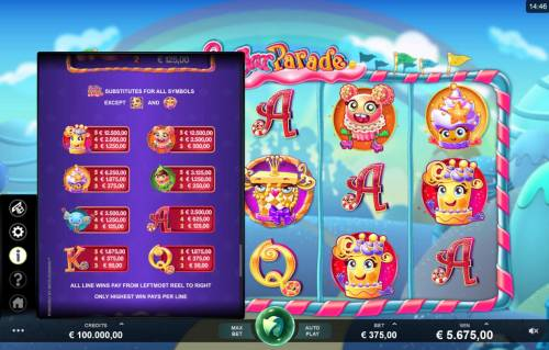 Sugar Parade Big Bonus Slots Low value game symbols paytable