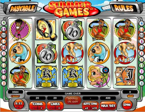 Summer Games Big Bonus Slots Main game board featuring five reels and 20 paylines with a $500,000 max payout.