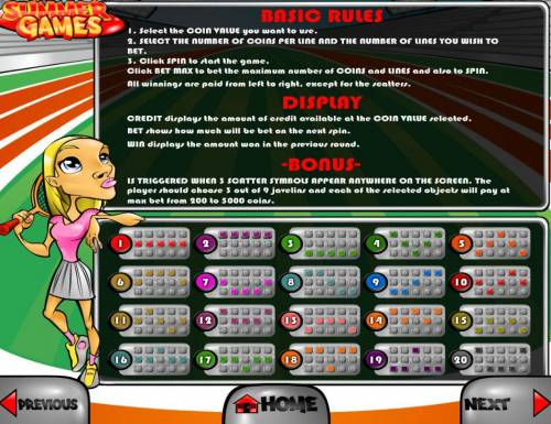 Summer Games Big Bonus Slots General Game Rules and Payline Diagrams 1-20