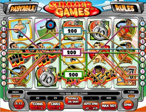 Summer Games Big Bonus Slots Multiple winning paylines triggers a 1280 coin big win!
