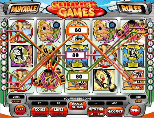 Summer Games Big Bonus Slots A 580 coin big win triggered by multiple winning paylines.