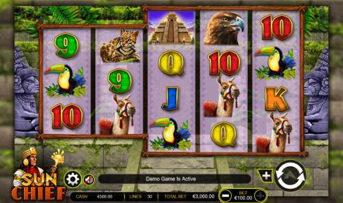 Sun Chief Big Bonus Slots Main game board featuring five reels and 30 paylines with a $300,000 max payout.