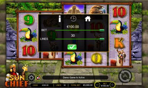Sun Chief Big Bonus Slots Click on the GEAR button to adjust the coin value played and lines played.