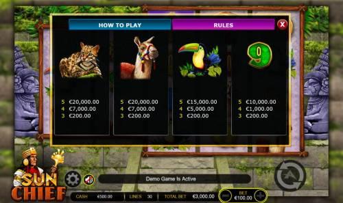 Sun Chief Big Bonus Slots Medium Value Slot Game  Symbols Paytable.