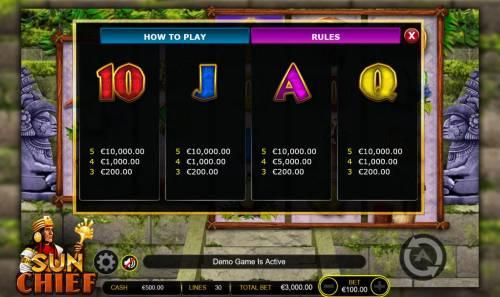 Sun Chief Big Bonus Slots Low value game symbols paytable