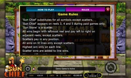 Sun Chief Big Bonus Slots General Game Rules