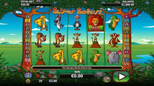 Super Safari Big Bonus Slots Main game board featuring five reels and 25 paylines with a $10,000 max payout