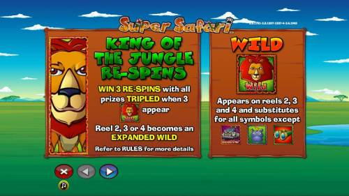 Super Safari Big Bonus Slots King of the Jungle Re-spins and wild symbol rules