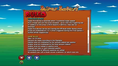 Super Safari Big Bonus Slots Hippo Pick Bonus and general game rules