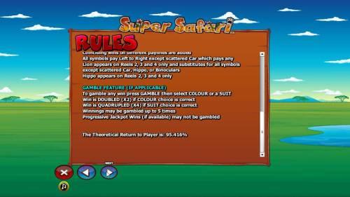 Super Safari Big Bonus Slots Gamble feature rules