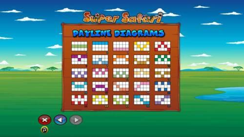 Super Safari Big Bonus Slots Payline Diagrams 1-25