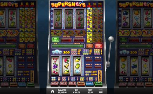 Supershots Big Bonus Slots Main game board featuring three reels and 1 payline with a $20,000 max payout