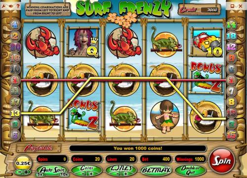 Surf Frenzy review on Big Bonus Slots