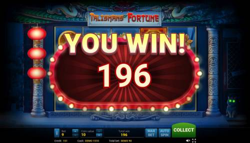 Talisman of Fortune Big Bonus Slots Total free games payout 196 coins