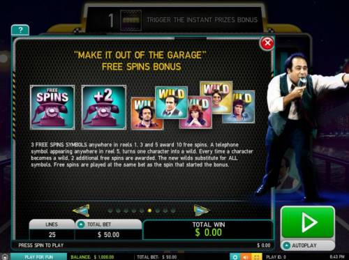 Taxi Big Bonus Slots Make It Out Of The garage Free Spins Bonus - 3 free spins anywhere in reels 1, 3 and 5 award 10 free spins.