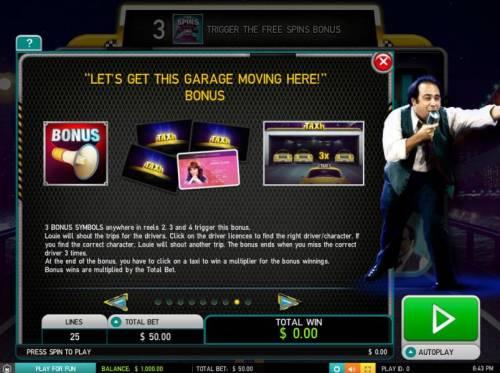 Taxi Big Bonus Slots Lets Get This Garage Moving Here - Bonus Rules