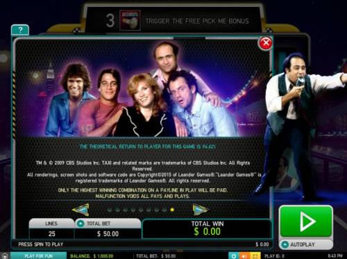Taxi Big Bonus Slots The theoretical return to player is 94.62%