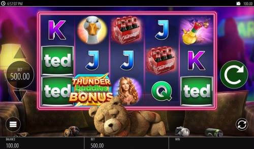 Ted Big Bonus Slots A teddy bear movie themed main game board featuring five reels and 20 paylines with a $250,000 max payout.