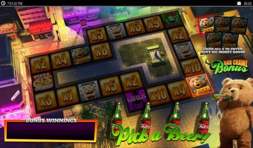 Ted Big Bonus Slots Bar Crawl Bonus - Pick a beer to advance around the game board.