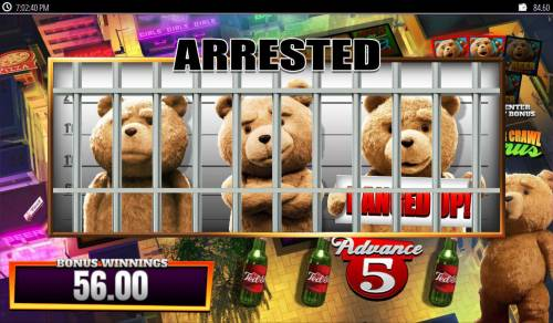Ted Big Bonus Slots Bonus game play ends when Ted is jailed.