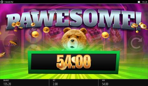 Ted Big Bonus Slots Beer Shuffle pays out a total of 54.00